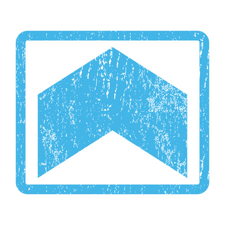 Direction Up rubber seal stamp watermark. Vector pictogram symbol inside rounded rectangle with grunge design and scratched texture. Scratched blue ink emblem print on a white background. Illustration