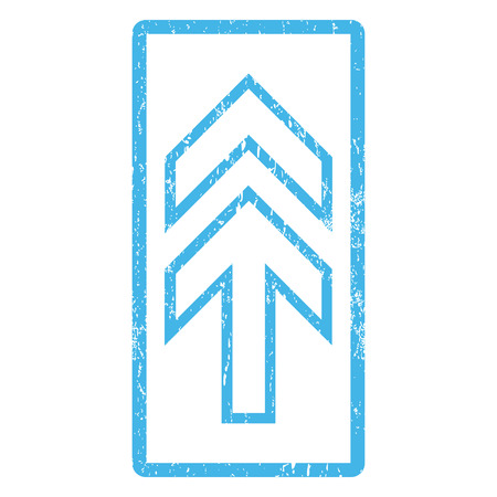 penetrating: Direction Up rubber seal stamp watermark. Vector pictogram symbol inside rounded rectangular frame with grunge design and dust texture. Scratched blue ink sticker print on a white background. Illustration