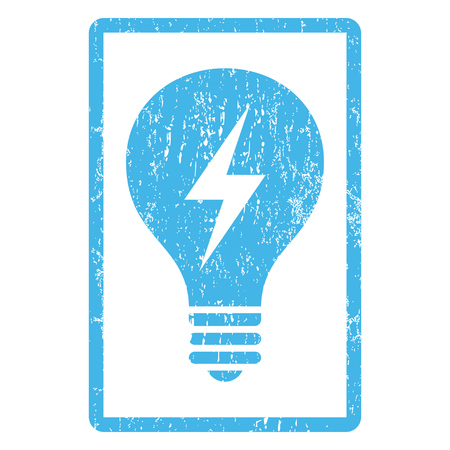 electric bulb: Electric Bulb rubber seal stamp watermark. Vector pictogram symbol inside rounded rectangle with grunge design and unclean texture. Scratched blue ink emblem print on a white background.