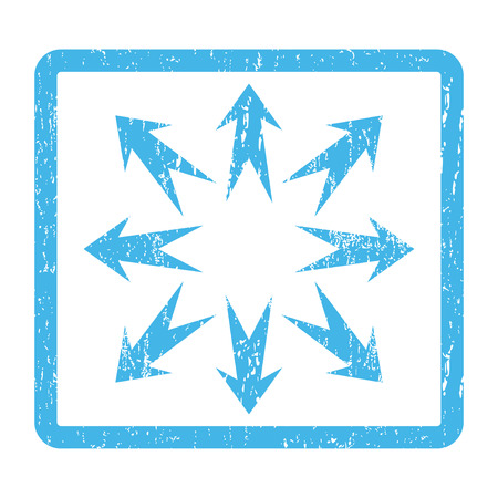 maximize: Expand Arrows rubber seal stamp watermark. Vector pictogram symbol inside rounded rectangular frame with grunge design and scratched texture. Scratched blue ink sign print on a white background.