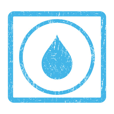 Drop rubber seal stamp watermark. Vector pictogram symbol inside rounded rectangle with grunge design and dirty texture. Scratched blue ink emblem print on a white background.