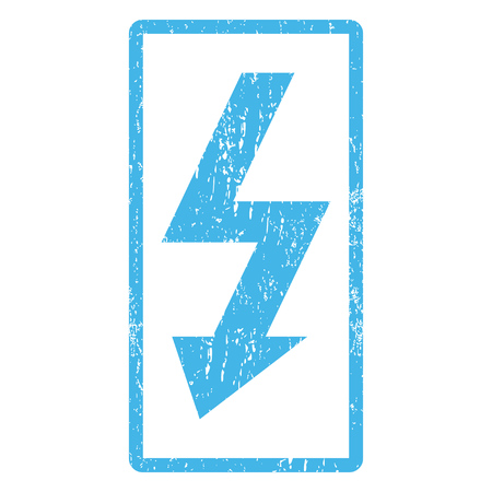 high voltage symbol: High Voltage rubber seal stamp watermark. Vector icon symbol inside rounded rectangle with grunge design and dust texture. Scratched blue ink sign print on a white background.