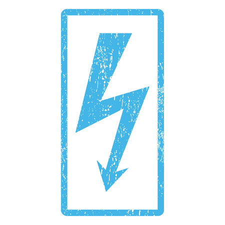 high voltage: High Voltage rubber seal stamp watermark. Vector pictogram symbol inside rounded rectangle with grunge design and dirty texture. Scratched blue ink sign print on a white background.