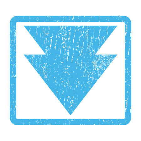 Move Down rubber seal stamp watermark. Vector pictogram symbol inside rounded rectangular frame with grunge design and unclean texture. Scratched blue ink emblem print on a white background.
