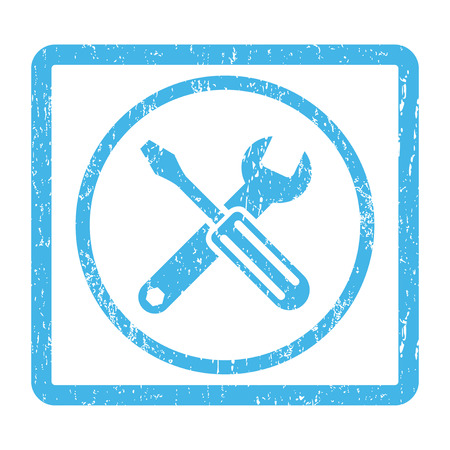 config: Options rubber seal stamp watermark. Vector pictogram symbol inside rounded rectangular frame with grunge design and scratched texture. Scratched blue ink emblem print on a white background. Illustration