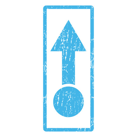 penetrating: Pull Up rubber seal stamp watermark. Vector pictogram symbol inside rounded rectangular frame with grunge design and dust texture. Scratched blue ink sticker print on a white background. Illustration