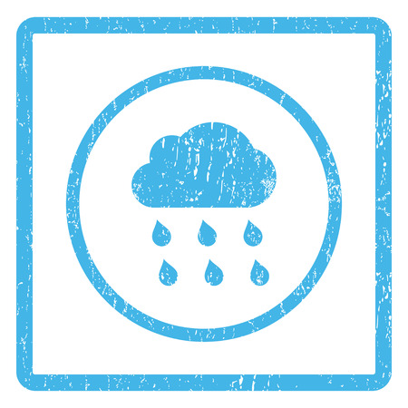 dust cloud: Rain Cloud rubber seal stamp watermark. Vector pictogram symbol inside rounded rectangular frame with grunge design and dust texture. Scratched blue ink emblem print on a white background.