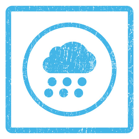 dust cloud: Rain Cloud rubber seal stamp watermark. Vector pictogram symbol inside rounded rectangle with grunge design and dust texture. Scratched blue ink sign print on a white background.