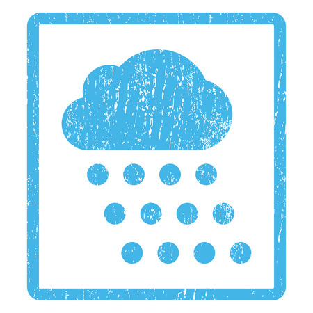watery: Rain Cloud rubber seal stamp watermark. Vector icon symbol inside rounded rectangular frame with grunge design and unclean texture. Scratched blue ink emblem print on a white background.