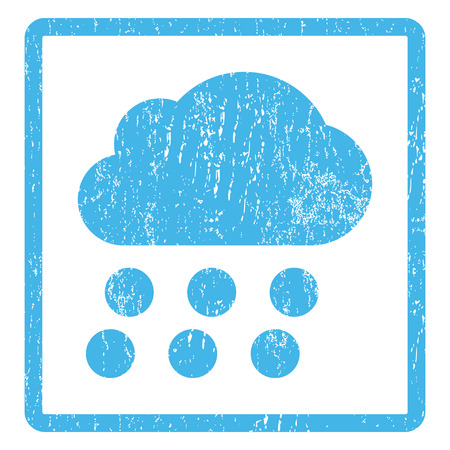 dust cloud: Rain Cloud rubber seal stamp watermark. Vector icon symbol inside rounded rectangular frame with grunge design and dust texture. Scratched blue ink sign print on a white background. Illustration