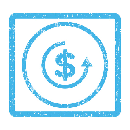 moneyback: Refund rubber seal stamp watermark. Vector pictogram symbol inside rounded rectangle with grunge design and dirty texture. Scratched blue ink emblem print on a white background.