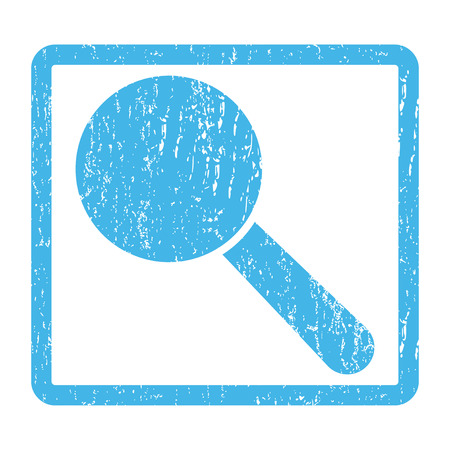 looks: Search Tool rubber seal stamp watermark. Vector pictogram symbol inside rounded rectangular frame with grunge design and unclean texture. Scratched blue ink sign print on a white background.