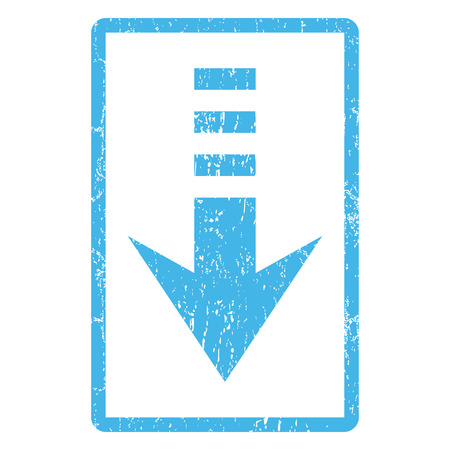 blue send: Send Down rubber seal stamp watermark. Vector pictogram symbol inside rounded rectangular frame with grunge design and dust texture. Scratched blue ink sign print on a white background.