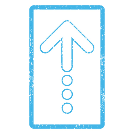 blue send: Send Up rubber seal stamp watermark. Vector icon symbol inside rounded rectangular frame with grunge design and dirty texture. Scratched blue ink sticker print on a white background.
