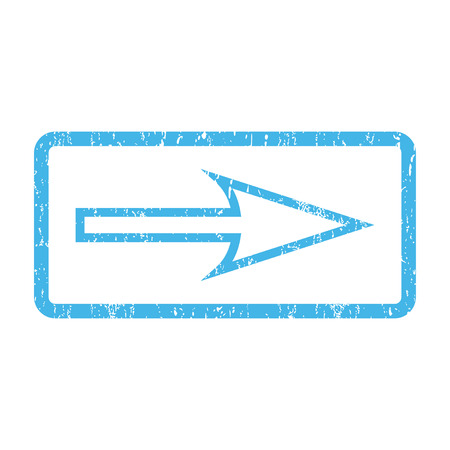 propel: Sharp Arrow Right rubber seal stamp watermark. Vector pictogram symbol inside rounded rectangle with grunge design and dirty texture. Scratched blue ink emblem print on a white background.