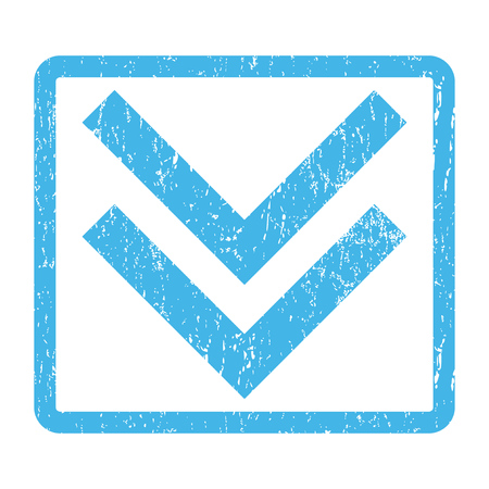 Shift Down rubber seal stamp watermark. Vector pictogram symbol inside rounded rectangular frame with grunge design and dust texture. Scratched blue ink emblem print on a white background.