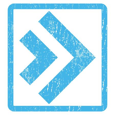 Nach rechts verschieben Gummidichtung Stempel Wasserzeichen. Vector-Symbol-Symbol in rechteckigen Rahmen mit Grunge-Design und Staub Textur abgerundet. Zerkratzt blauer Tinte Zeichen Druck auf einem weißen Hintergrund. Vektorgrafik