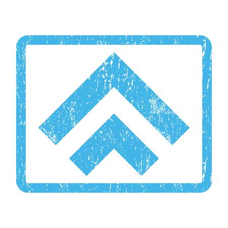 Shift Up filigrane de timbre de joint en caoutchouc. Symbole de pictogramme de vecteur à l'intérieur du rectangle arrondi avec design grunge et texture rayée. Impression de signe d'encre bleue rayé sur un fond blanc.