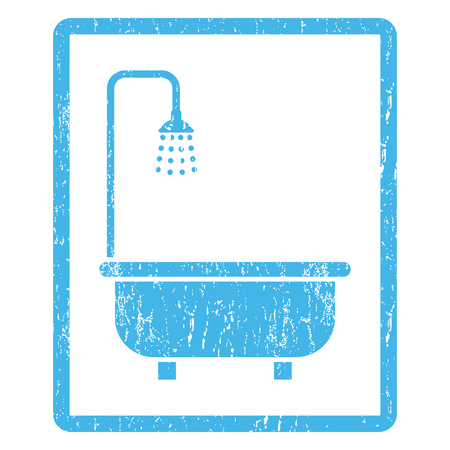 Shower Bath rubber seal stamp watermark. Vector icon symbol inside rounded rectangle with grunge design and scratched texture. Scratched blue ink emblem print on a white background.