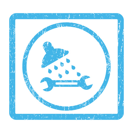 Shower Plumbing rubber seal stamp watermark. Vector pictogram symbol inside rounded rectangle with grunge design and dirty texture. Scratched blue ink sticker print on a white background.