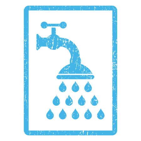 Shower Tap rubber seal stamp watermark. Vector icon symbol inside rounded rectangular frame with grunge design and dust texture. Scratched blue ink emblem print on a white background.
