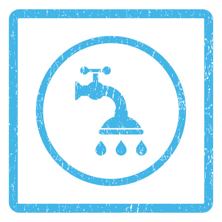 Shower Tap rubber seal stamp watermark. Vector icon symbol inside rounded rectangle with grunge design and dust texture. Scratched blue ink sticker print on a white background.