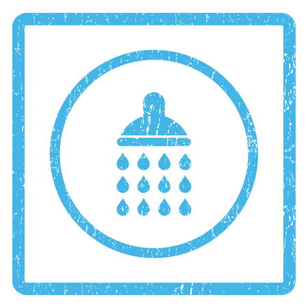 Shower rubber seal stamp watermark. Vector icon symbol inside rounded rectangle with grunge design and dust texture. Scratched blue ink sticker print on a white background.