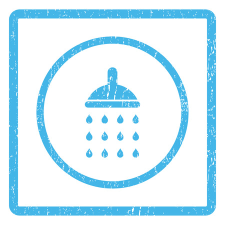 Shower rubber seal stamp watermark. Vector icon symbol inside rounded rectangular frame with grunge design and scratched texture. Scratched blue ink sticker print on a white background. Vectores