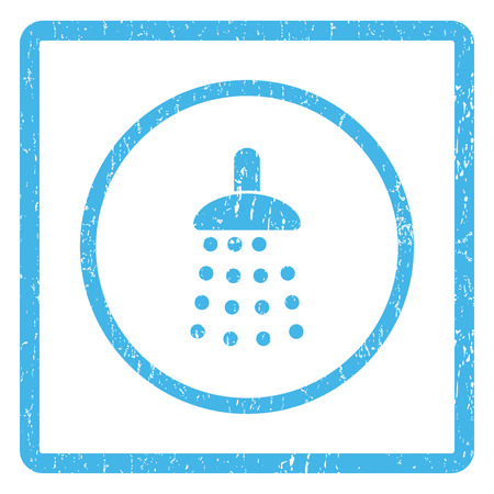 Shower rubber seal stamp watermark. Vector icon symbol inside rounded rectangle with grunge design and scratched texture. Scratched blue ink emblem print on a white background.