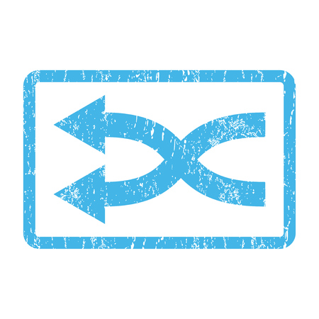 shuffle: Shuffle Arrows Left rubber seal stamp watermark. Vector pictogram symbol inside rounded rectangle with grunge design and unclean texture. Scratched blue ink sticker print on a white background.