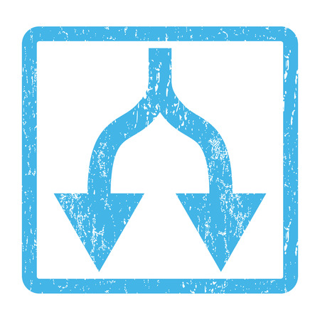 Split Arrows Down rubber seal stamp watermark. Vector icon symbol inside rounded rectangular frame with grunge design and scratched texture. Scratched blue ink emblem print on a white background. Illustration