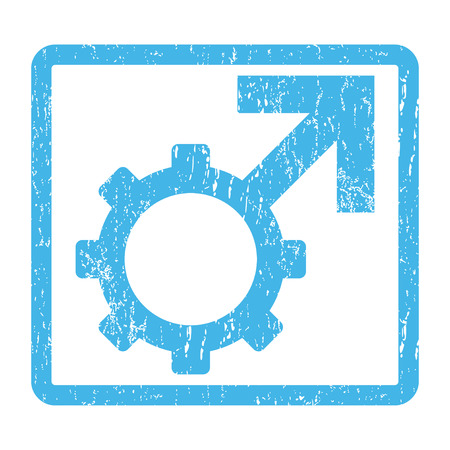 potency: Technological Potence rubber seal stamp watermark. Vector icon symbol inside rounded rectangle with grunge design and dirty texture. Scratched blue ink sign print on a white background. Illustration