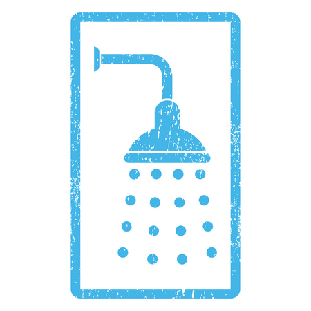 Shower rubber seal stamp watermark. Vector pictogram symbol inside rounded rectangular frame with grunge design and dust texture. Scratched blue ink sticker print on a white background.