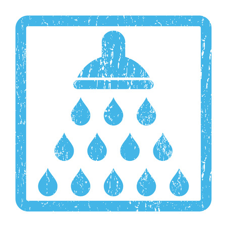 Shower rubber seal stamp watermark. Vector icon symbol inside rounded rectangle with grunge design and scratched texture. Scratched blue ink sticker print on a white background.