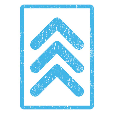 penetrating: Triple Arrowhead Up rubber seal stamp watermark. Vector pictogram symbol inside rounded rectangular frame with grunge design and dirty texture. Scratched blue ink sign print on a white background. Illustration