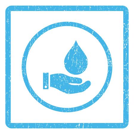 Water Service rubber seal stamp watermark. Vector icono símbolo dentro de marco rectangular redondeado con diseño grunge y textura sucia. Impresión rasguñada de la muestra de la tinta azul en un fondo blanco.