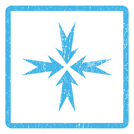 shrink: Compression Arrows rubber seal stamp watermark. Vector pictogram symbol inside rounded rectangular frame with grunge design and dirty texture. Scratched blue ink emblem print on a white background. Illustration