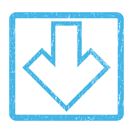 vertical orientation: Arrow Down rubber seal stamp watermark. Glyph pictogram symbol inside rounded rectangular frame with grunge design and dirty texture. Scratched blue ink emblem print on a white background.