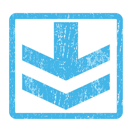 vertical orientation: Arrow Down rubber seal stamp watermark. Glyph icon symbol inside rounded rectangle with grunge design and dirty texture. Scratched blue ink sign print on a white background.