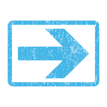 proceed: Arrow Right rubber seal stamp watermark. Glyph icon symbol inside rounded rectangle with grunge design and dirty texture. Scratched blue ink sign print on a white background.