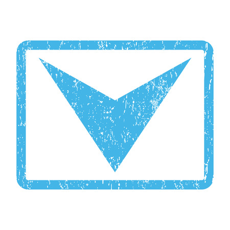 Arrowhead Down rubber seal stamp watermark. Glyph icon symbol inside rounded rectangle with grunge design and unclean texture. Scratched blue ink sign print on a white background. Stock Photo