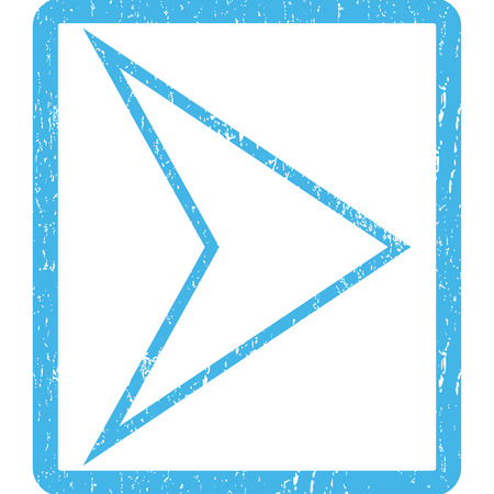 redirect: Arrowhead Right rubber seal stamp watermark. Glyph pictogram symbol inside rounded rectangular frame with grunge design and dust texture. Scratched blue ink sticker print on a white background.