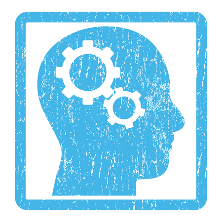gearwheel: Brain Gears rubber seal stamp watermark. Glyph icon symbol inside rounded rectangular frame with grunge design and dirty texture. Scratched blue ink sticker print on a white background.