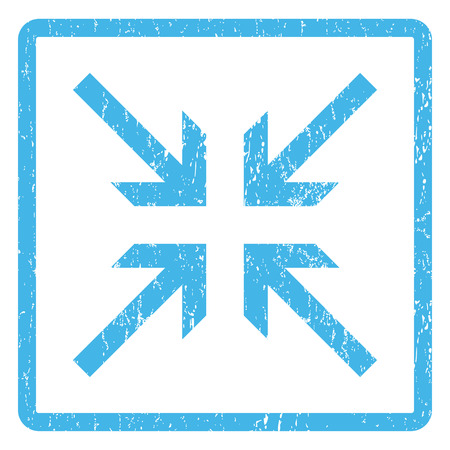 collide: Collide Arrows rubber seal stamp watermark. Glyph pictogram symbol inside rounded rectangle with grunge design and dust texture. Scratched blue ink emblem print on a white background. Stock Photo