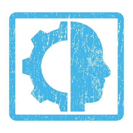 robo: Cyborg Gear rubber seal stamp watermark. Glyph pictogram symbol inside rounded rectangular frame with grunge design and unclean texture. Scratched blue ink sign print on a white background.