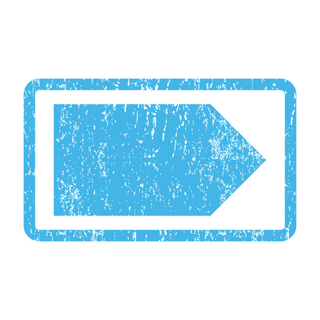 redirect: Direction Right rubber seal stamp watermark. Glyph icon symbol inside rounded rectangle with grunge design and scratched texture. Scratched blue ink sign print on a white background.