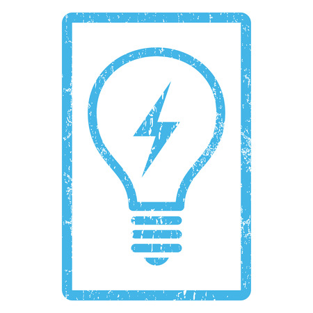 electric bulb: Electric Bulb rubber seal stamp watermark. Glyph pictogram symbol inside rounded rectangle with grunge design and dust texture. Scratched blue ink sign print on a white background.