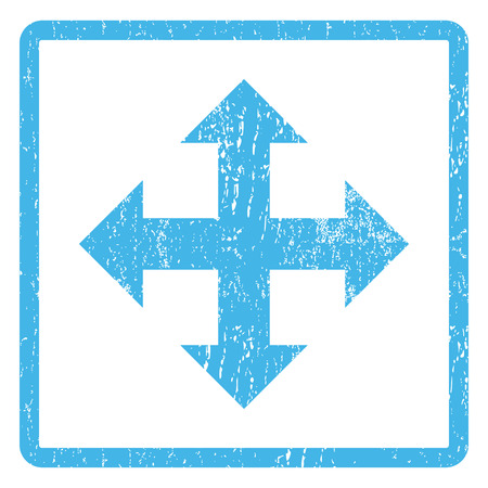 maximize: Expand Arrows rubber seal stamp watermark. Glyph pictogram symbol inside rounded rectangle with grunge design and unclean texture. Scratched blue ink sign print on a white background. Stock Photo