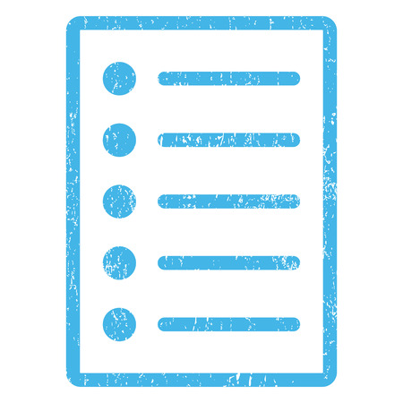 Items rubber seal stamp watermark. Glyph pictogram symbol inside rounded rectangular frame with grunge design and scratched texture. Scratched blue ink sign print on a white background. Stock Photo