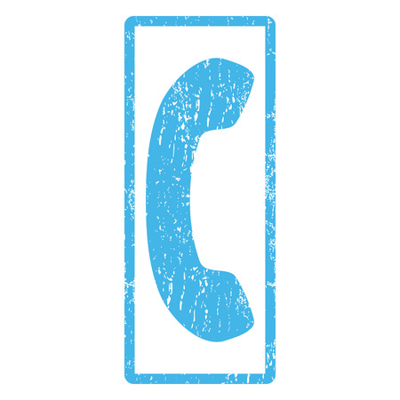 phone receiver: Phone Receiver rubber seal stamp watermark. Glyph pictogram symbol inside rounded rectangle with grunge design and unclean texture. Scratched blue ink sticker print on a white background. Stock Photo